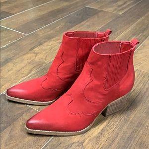 Sam Edelman red cowboy bootie.  Size 8 1/2